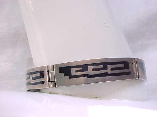 Sterling Bracelet, Inlay Onyx, Sterling Over-lay - Geometric Design