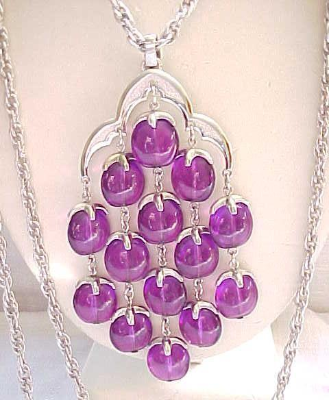 Amazing Color - Trifari Waterfall Necklace - Purple with Silvertone Chains - Please Hold for Elana