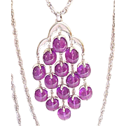 Amazing Color - Trifari Waterfall Necklace - Purple with Silvertone Chains