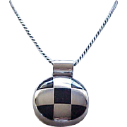 Gorgeous Sterling and Onyx Checkerboard  Necklace  Sterling Chain