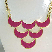 Mod Look Monet Rose Colored Enamel Necklace