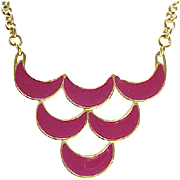 Mod Look Monet Rose Colored Enamel Necklace