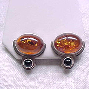 Sterling Silver Earrings - Amber and Onyx