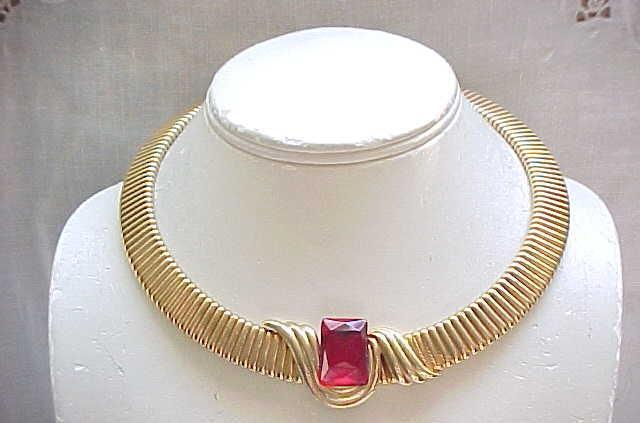 Wide Flex Necklace Red Rhinestone Center - Goldtone