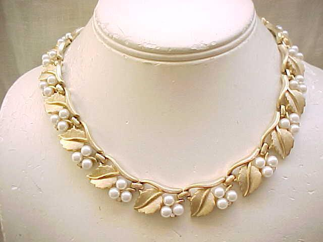 Trifari Faux Pearl, Rhinestone Necklace