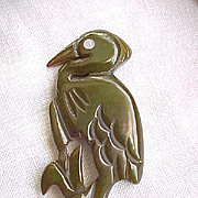 12 - Awesome Bakelite Heron - Well Carved - Olive Green