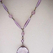 Exquisite Czech Necklace - Y-Shape - Purple Glass Beads