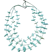 Zuni Fetish Necklace - 3 Strands - All Turquoise