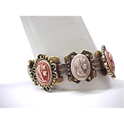Awesome Book Chain Bracelet with Glass Cameos