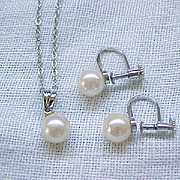 Lovely Kitamura Pearl Necklace, Earrings - Sterling Silver - Original Box