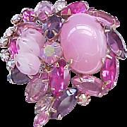Fabulous Pink Art Glass and Rhinestone Brooch