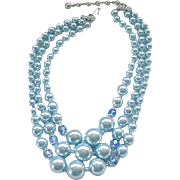 04 - 3 Strand Blue Moonglow Necklace