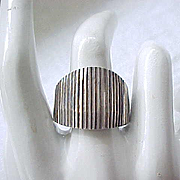Stunning Modernist Sterling Silver Ring - Size 10 3/4