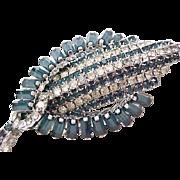 Exquisite Hobe' Rhinestone Brooch Pin - Deep Blue Rhinestone Baguettes