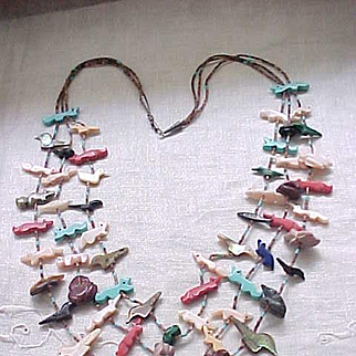 Excellent Native American Fetish Necklace - 3 Strands Nice Variety