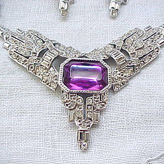 Stunning Parklane Necklace, Earrings Purple Accents, Rhinestones