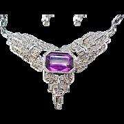Stunning Parklane Necklace, Earrings Purple Accents, Rhinestones