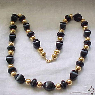 Chic and Chunky Napier Necklace - Pretty Black Beads with Goldtone Accents