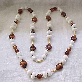 Pretty Long Necklace White Beads with Faux Amber