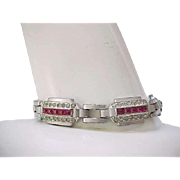 Lovely Art Deco Rhinestone Bracelet with Pink Square Stones
