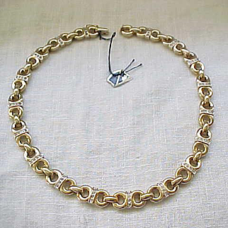 Gorgeous Panetta Necklace with Rhinestone Bands, Superb Plating