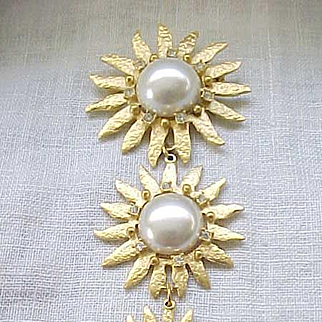 08 - Delightful Three Tiered Brooch with Faux Pearls, Rhinestones