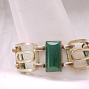 Exceptional Art Deco Bracelet - Green Glass Inserts Like Chrysoprase