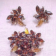 Fantastic Molded Art Glass Brooch, Earrings - Topaz, Aurora Borealis