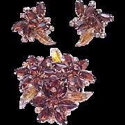 Fantastic Molded Art Glass Brooch, Earrings - Topaz, Aurora Borealis