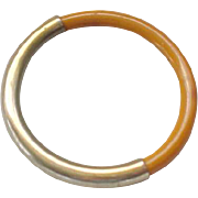 Butterscotch Bakelite and Metal Bangle