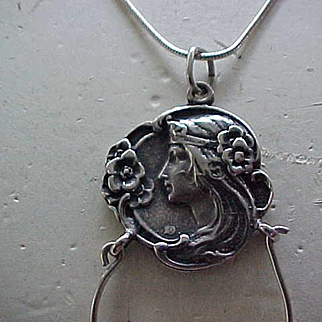 Lovely Art Nouveau Style Sterling Silver Charm Necklace