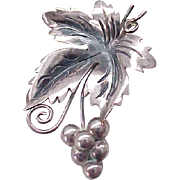 Sterling Silver Grape Leaf Pin - Nicely Detailed