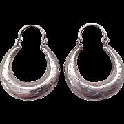 05 - Sterling Silver Hoop Earrings - Incised Design