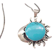 Sterling and Turquoise Sun & Moon Pendant with Box Chain