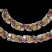 Superb Lisner Rhinestone Necklace, Bracelet - Earth Colors
