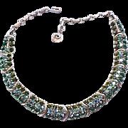 Spectacular Lisner Rhinestone Necklace, Brooch - Shades of Green