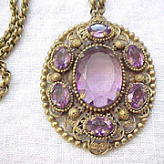 Spectacular Victorian Revival Necklace - Purple Rhinestones - Unfoiled and Open Backed