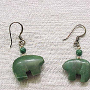 05 -  Malachite Bear Fetish Sterling Silver Earrings - Pierced Ears