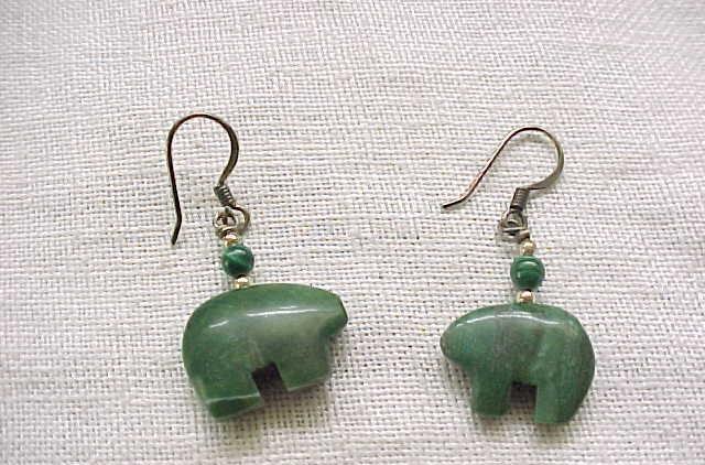 05 -  Malachite Bear Fetish Sterling Silver Earrings - Pierced Ears