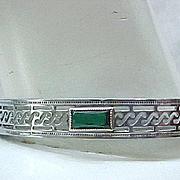 Art Deco Bracelet Open Work Design, Green Stone