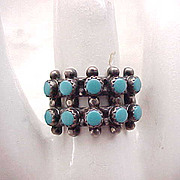 Sterling Silver & Turquoise Ring - size 6 3/4