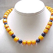 Butterscotch Bakelite Necklace with Deep Blue Glass Beads