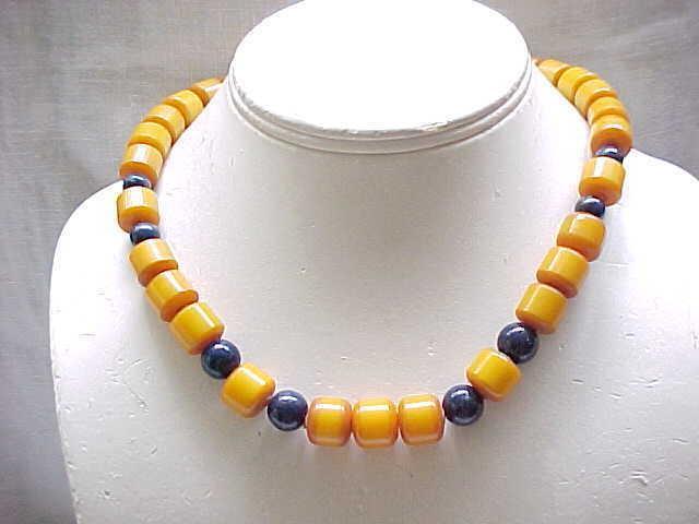 Butterscotch Bakelite Necklace with Deep Blue Glass Beads