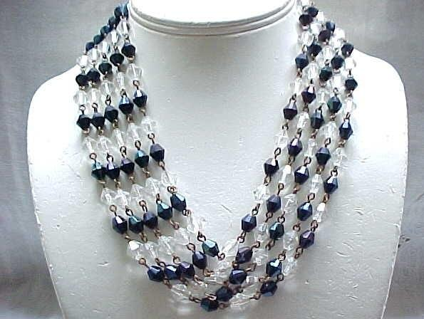 10 - 4 Strand Crystal Necklace - Deep Blue Iridescent Crystals, Clear Crystals