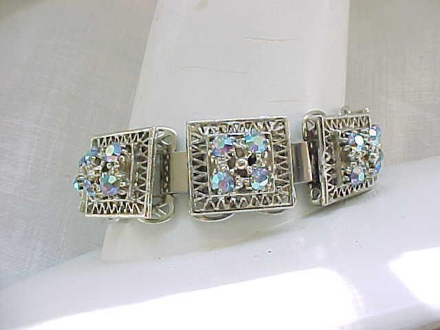 11 - Book Chain Silvertone Bracelet, Aurora Borealis Rhinestones - Clip Earrings