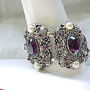 Chunky Extra Wide Rhinestone Bracelet - Purple with Faux Pearls