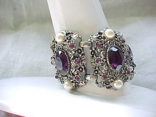 03 - Chunky Extra Wide Rhinestone Bracelet - Purple with Faux Pearls