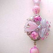 Beautiful Art Glass Necklace - Pink & Lavender