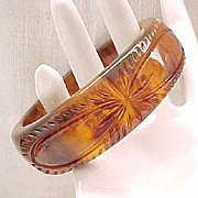 Wide Deeply Carved Bakelite Bracelet - Tortoiseshell Color