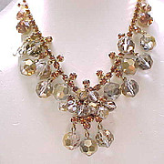 03 - Spectacular Juliana Necklace, Earrings Bronze Beads, Topaz Chatons - Book Piece